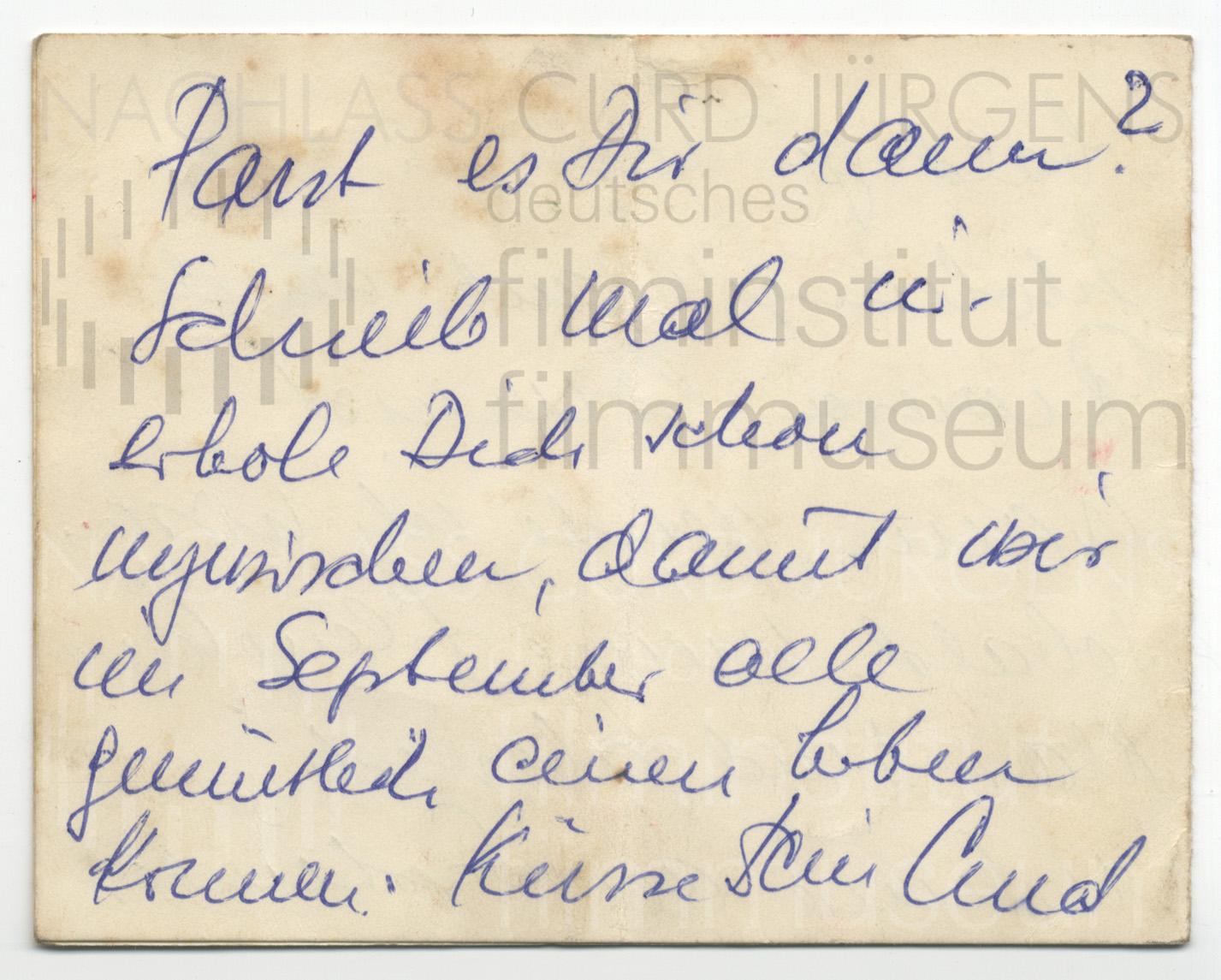 Curd Jürgens an Lulu Basler, ca. 1950er JahreCurd Jürgens an Lulu Basler