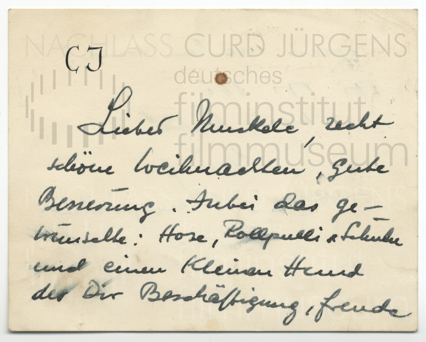 Curd Jürgens an Lulu Basler. [ca. 1950er Jahre]