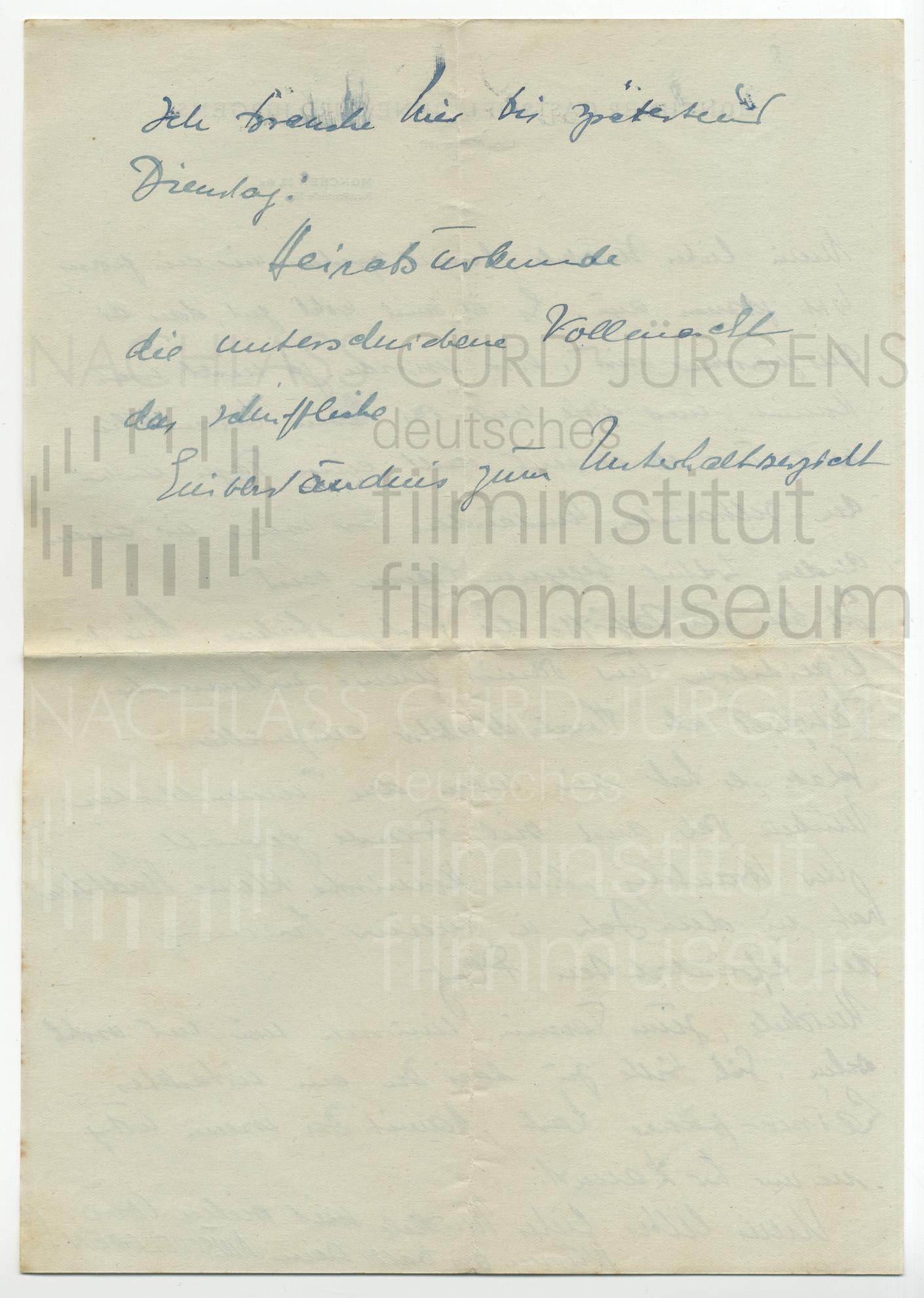 Curd Jürgens an Lulu Basler. [München, ca. 1945/46]