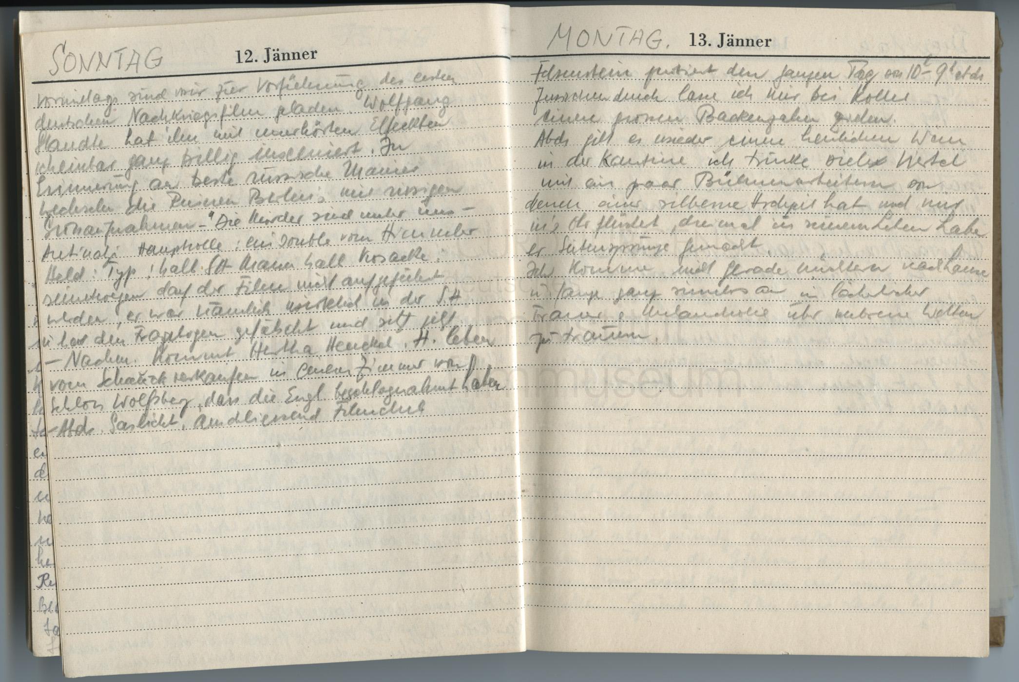 Tagebucheintrag vom 12.1.1947