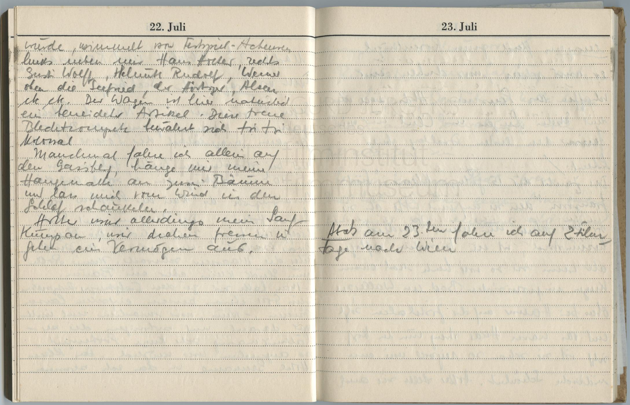 Tagebucheintragungen vom 21.7. bis 22.7.1947