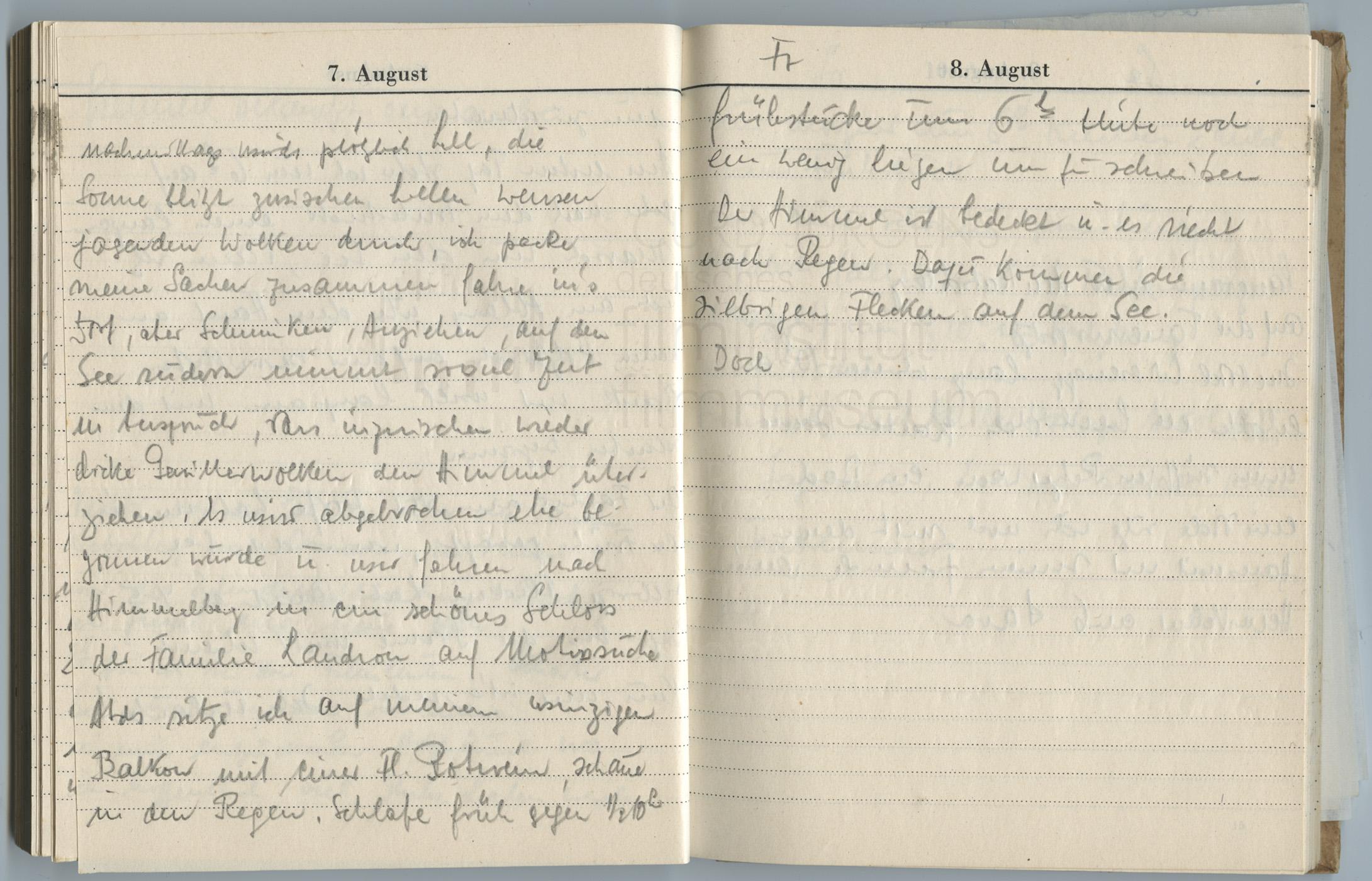 Tagebucheintragungen vom 5.8. bis 8.8.1947