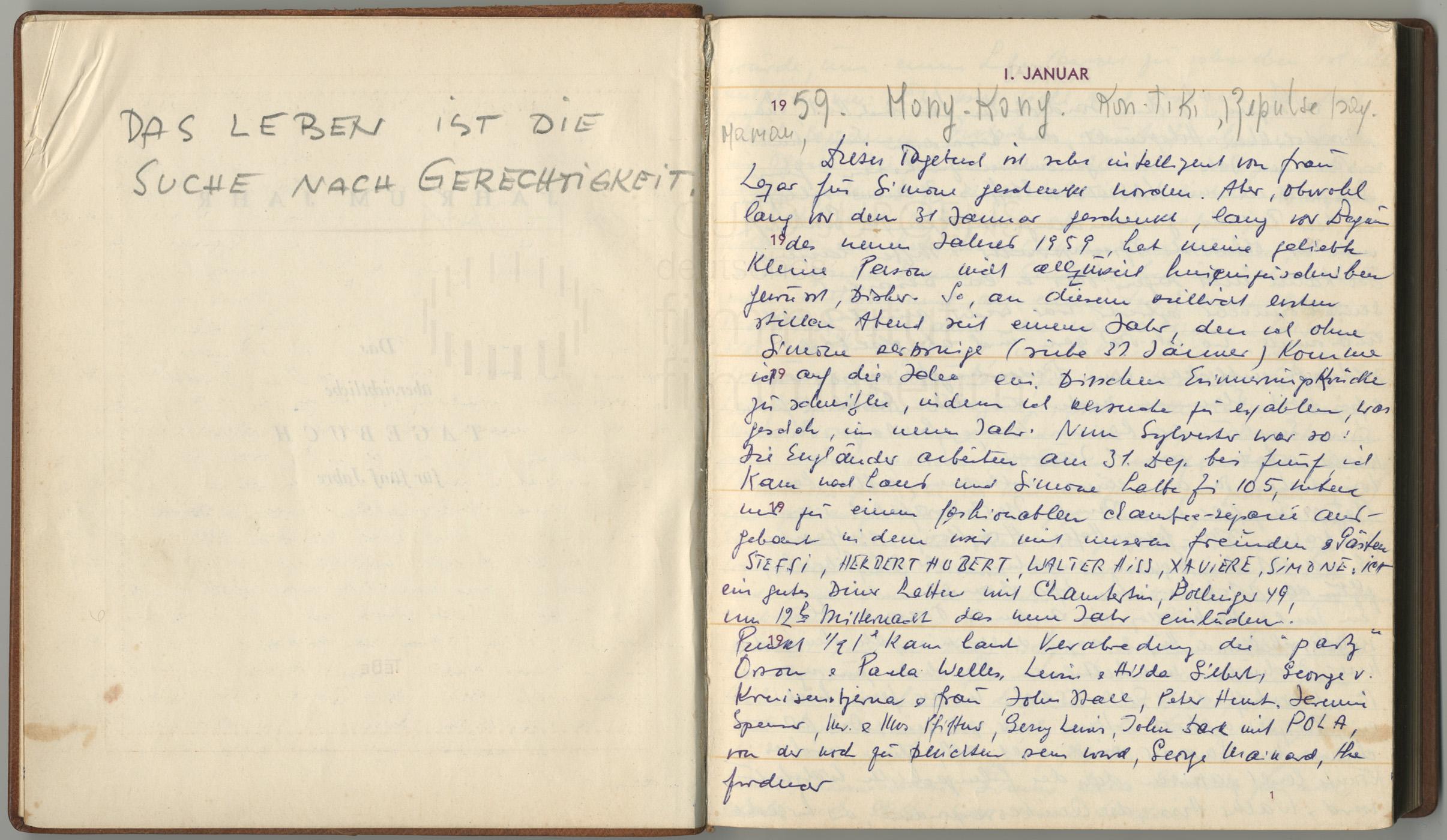 Tagebucheintrag vom 1.1.1959