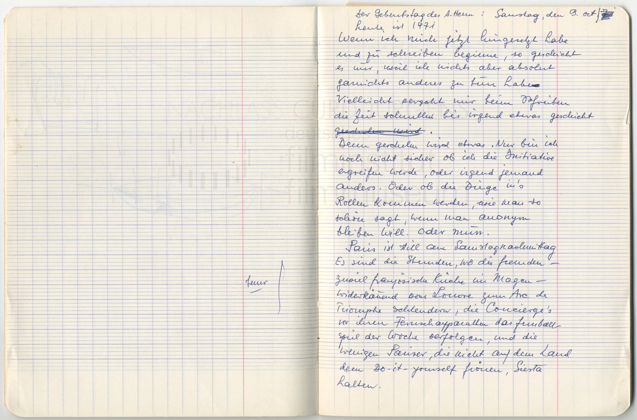 Tagebucheintrag vom 9.10.1971