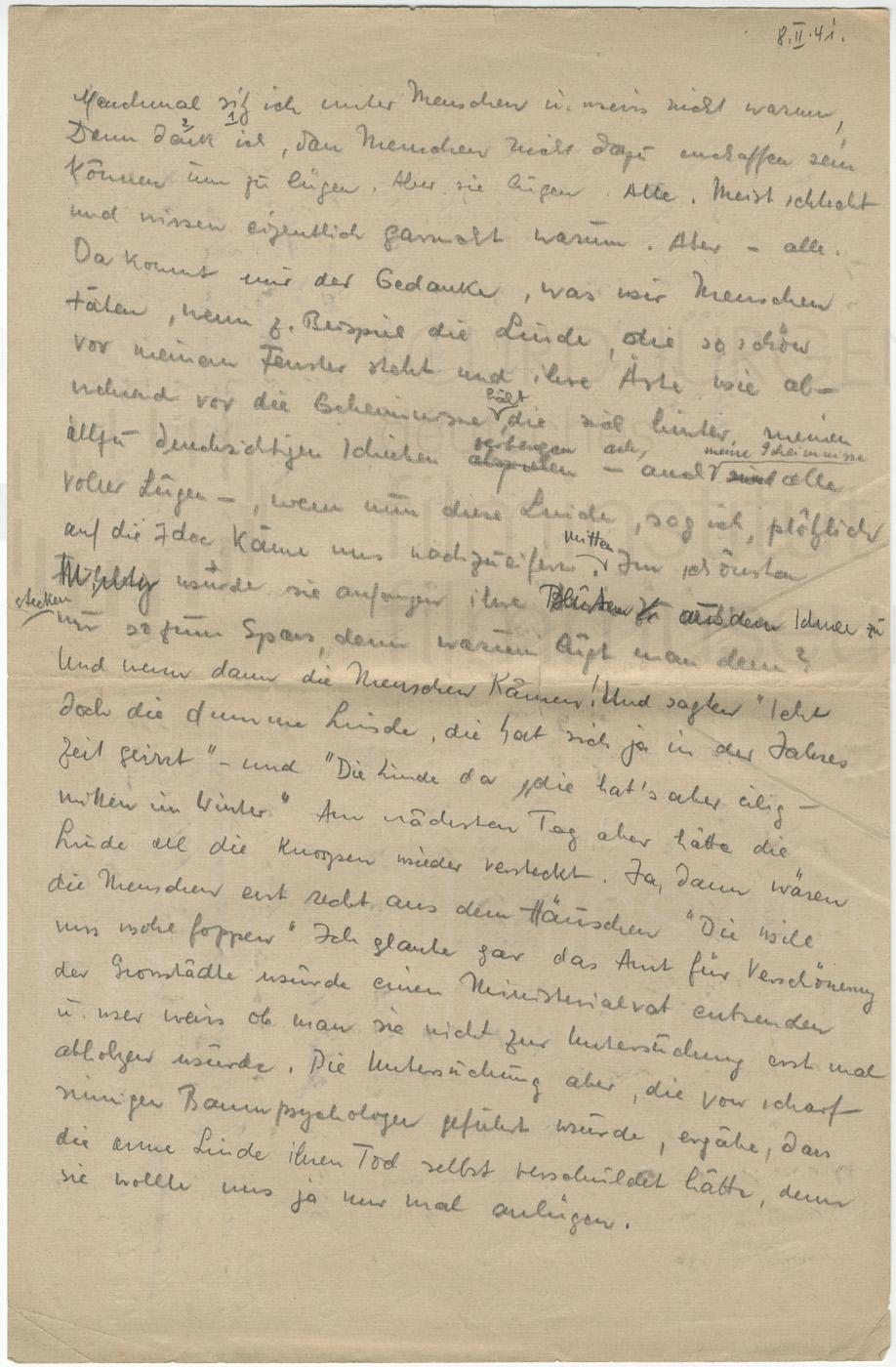 """Persönliche Aufzeichnungen """"Manchmal sitz' ich unter Menschen"""", 8.2.1941"""