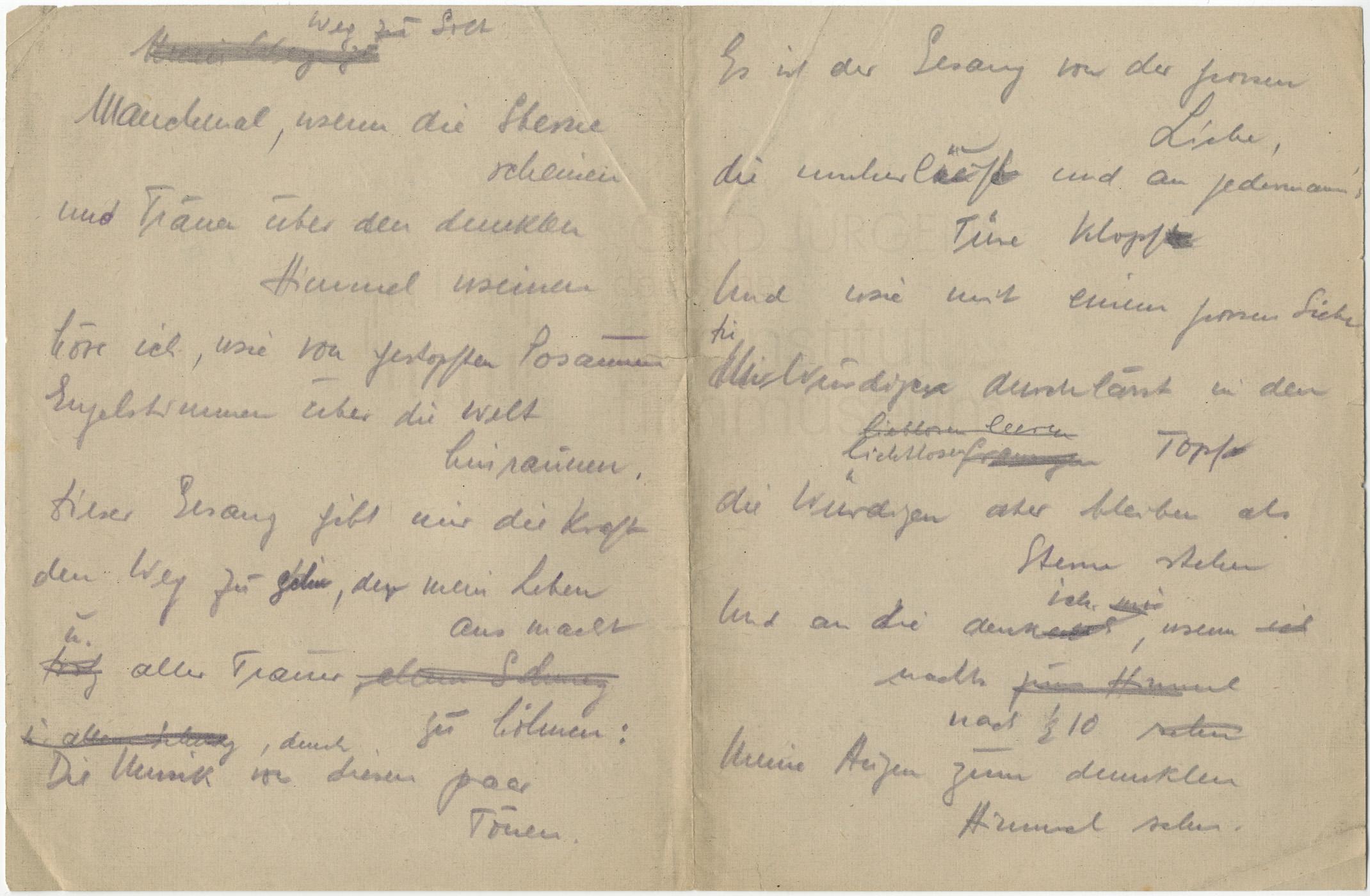 """Persönliche Aufzeichnungen """"Weg zu Gott"""", 8.2.1941"""
