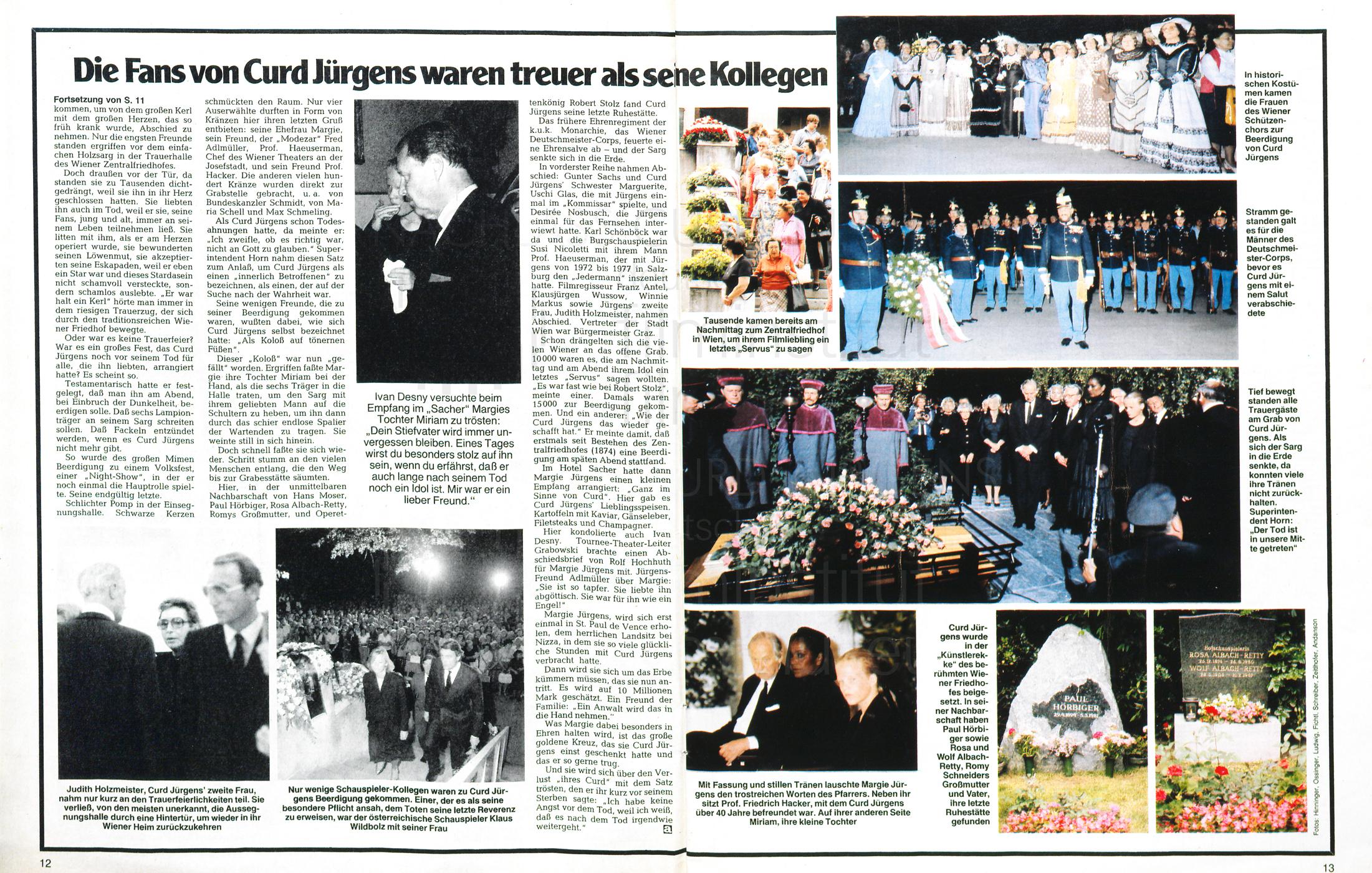 """Die Aktuelle: """"Die Fans von Curd Jürgens waren teurer als seine Kollegen"""", Nr. 26, 1982"""