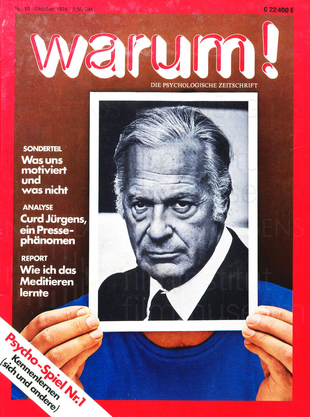 """Warum!: """"Curd Jürgens, ein Pressephänomen"""", N. 10, Oktober 1976"""
