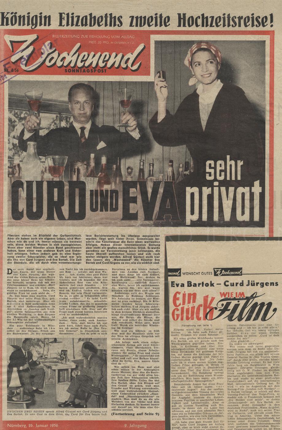 """Wochenend Sonntagspost: """"Curd und Eva sehr privat"""", 26.1.1956"""