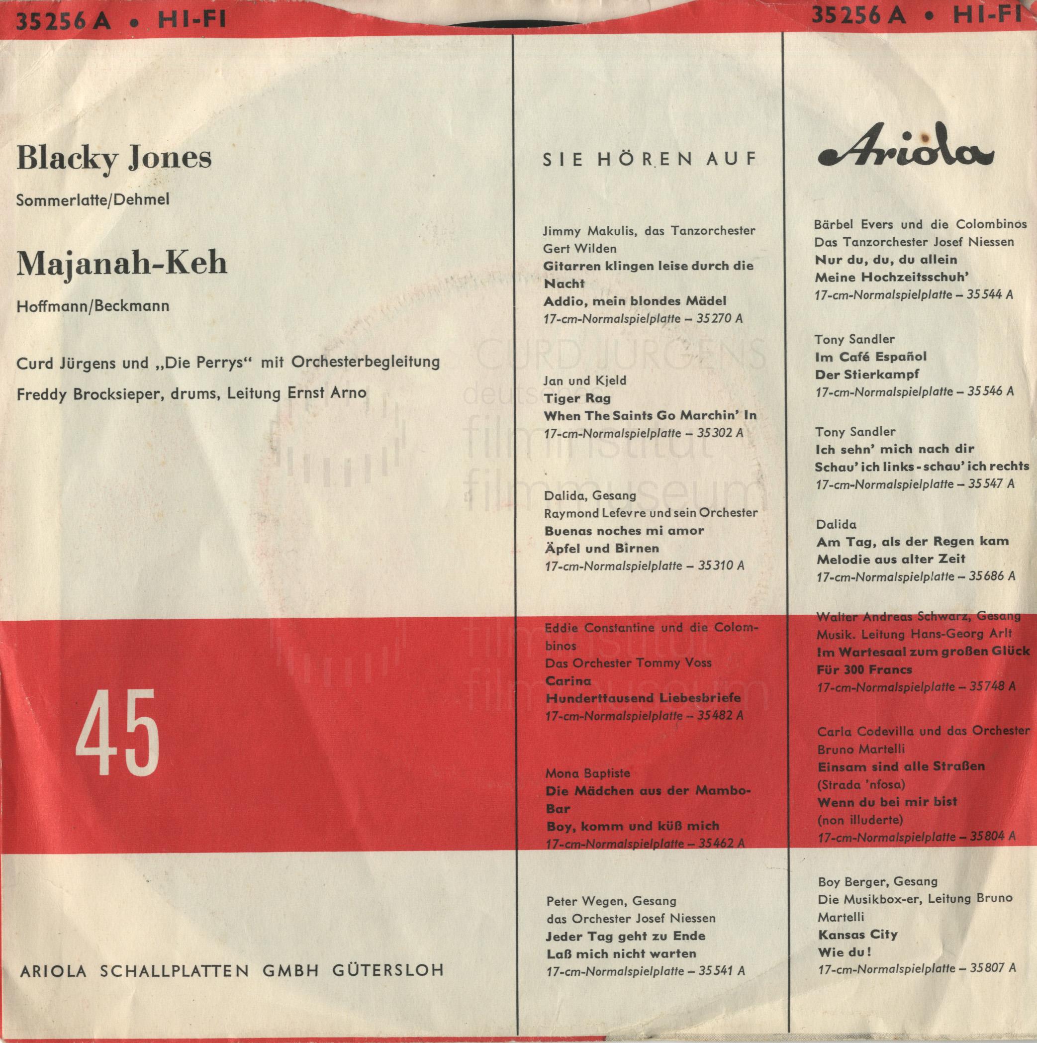 """Curd Jürgens, """"Blacky Jones / Majanah-Keh"""", Schallplattencover, 1961"""