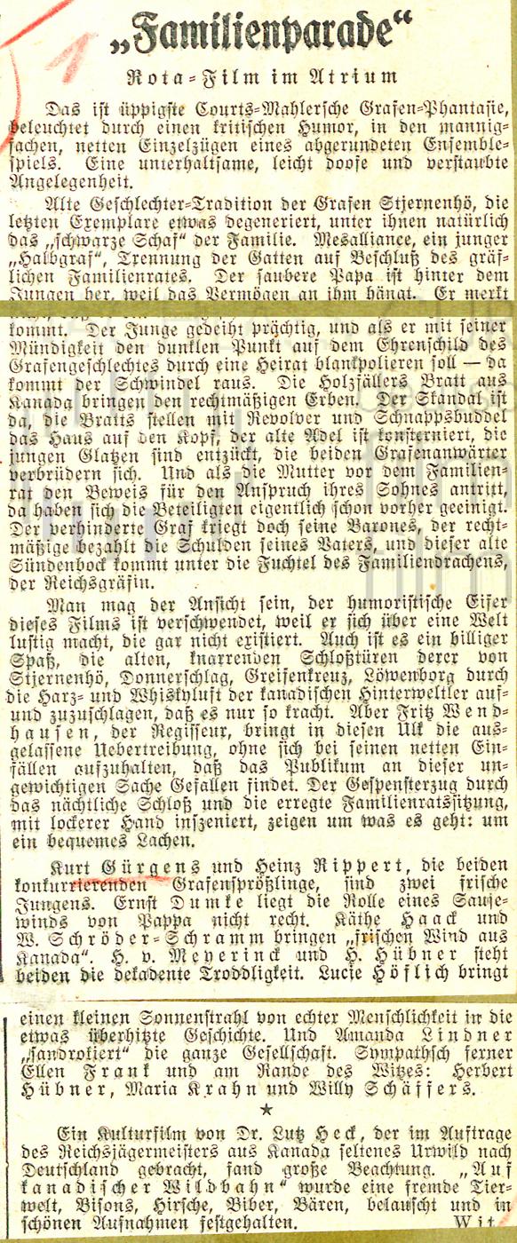 """Deutsche Allgemeine Zeitung: """"Familienparade"""", 15.5.1936"""