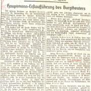 """N.N.: """"Hauptmann-Erstaufführung des Burgtheaters"""", 1942"""