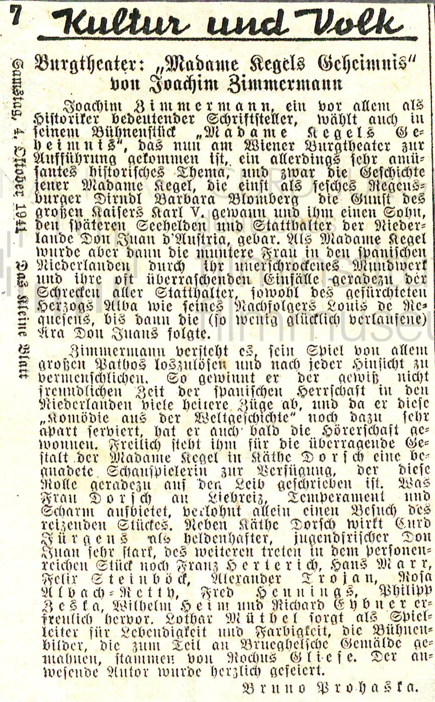 """Das kleine Blatt: """"Burgtheater: 'Madame Kegels Geheimnis' von Joachim Zimmermann"""", 4.10.1941"""