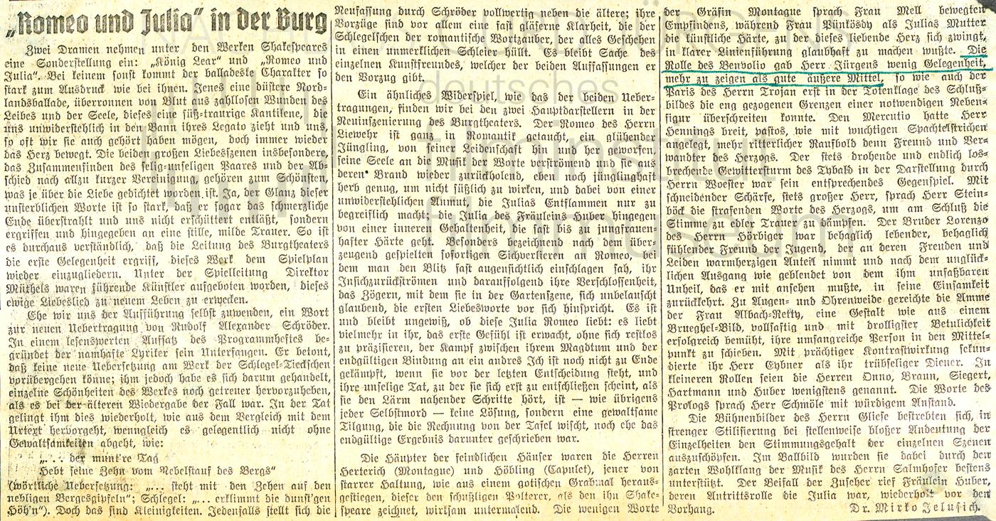 """N.N.: """"Romeo und Julia in der Burg"""", 1940"""