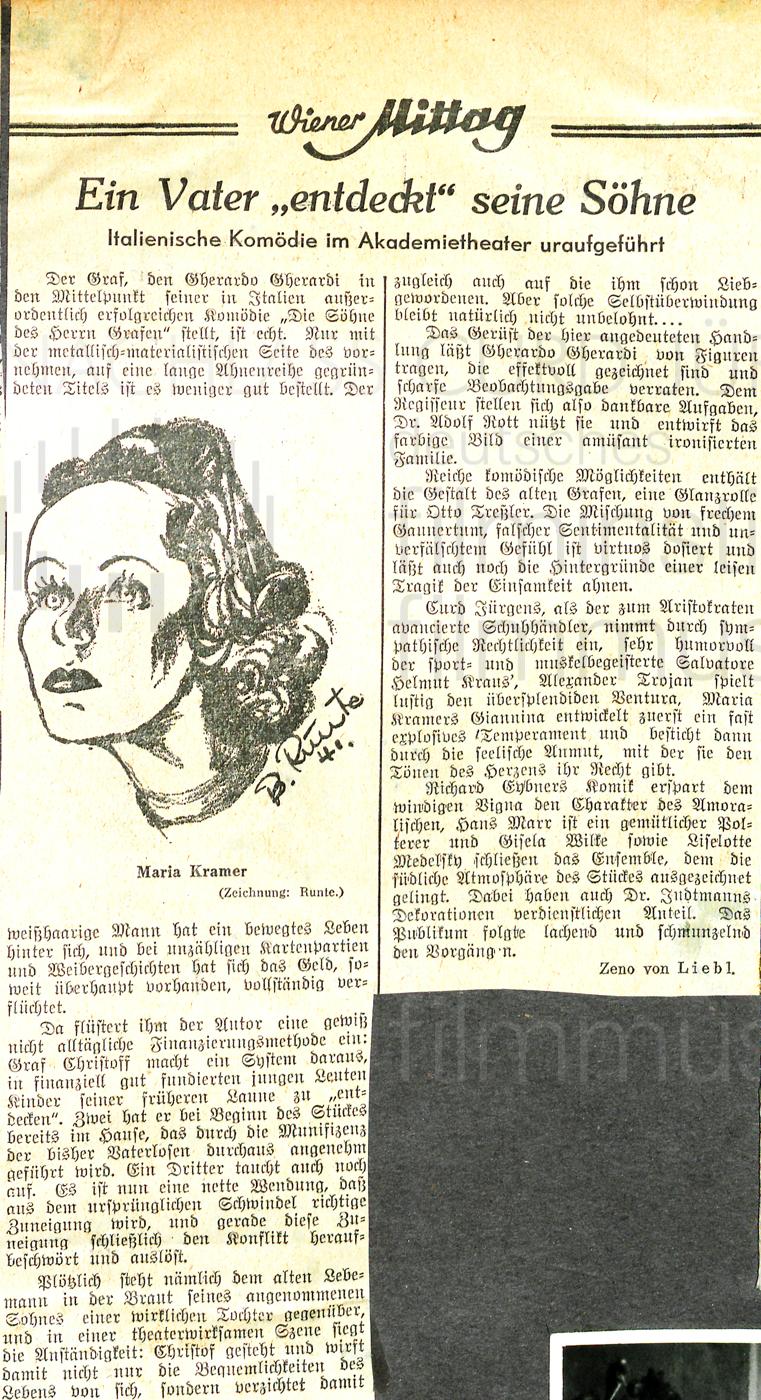 """Wiener Mittag: """"Ein Vater 'entdeckt' seine Söhne"""", 1941"""