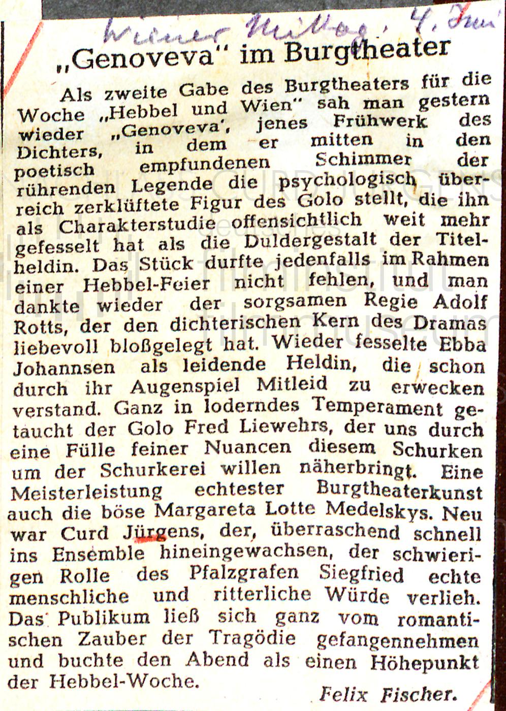 """Wiener Mittag: """"Genoveva im Burgtheater"""", 4.6.1941"""