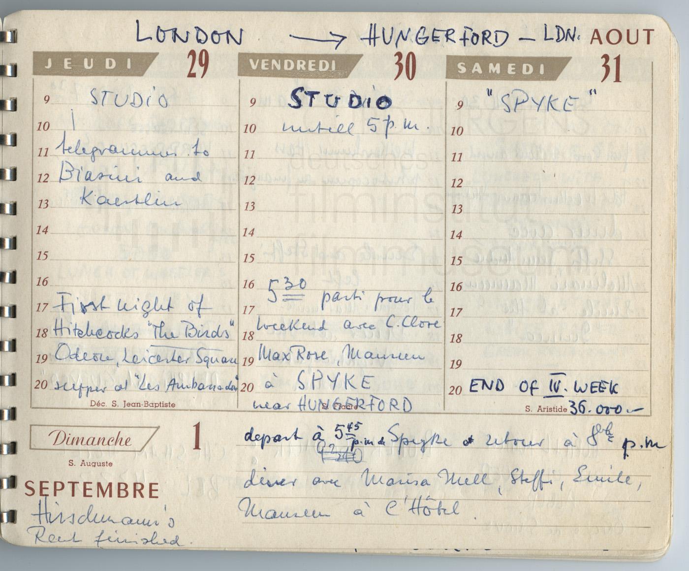 Terminkalender 29.8.-31.8.1963