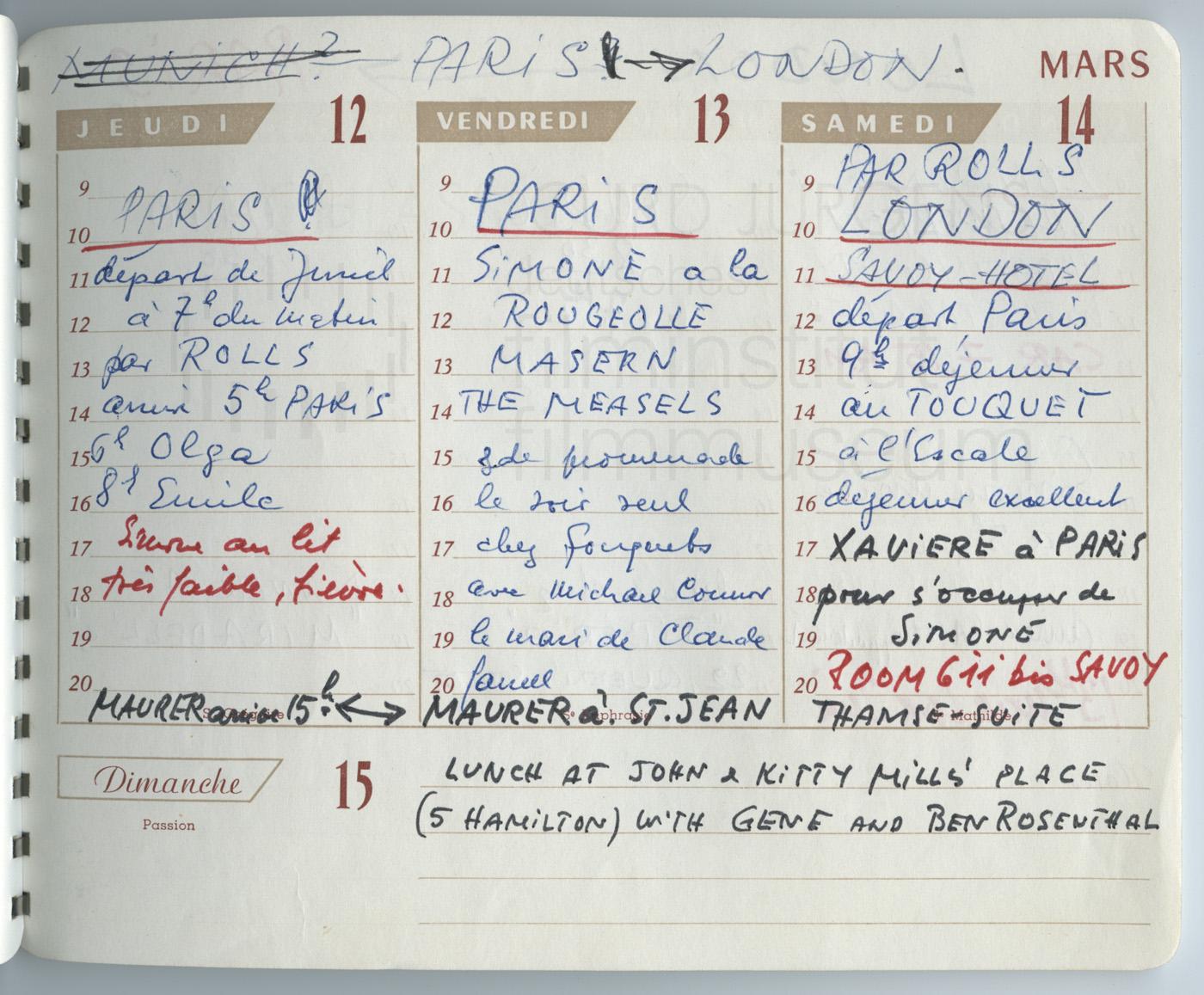 Terminkalender 12.3.-14.3.1964