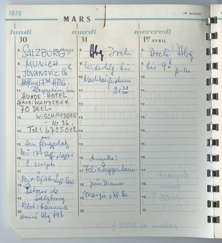 Terminkalender 30.3.-1.4.1970