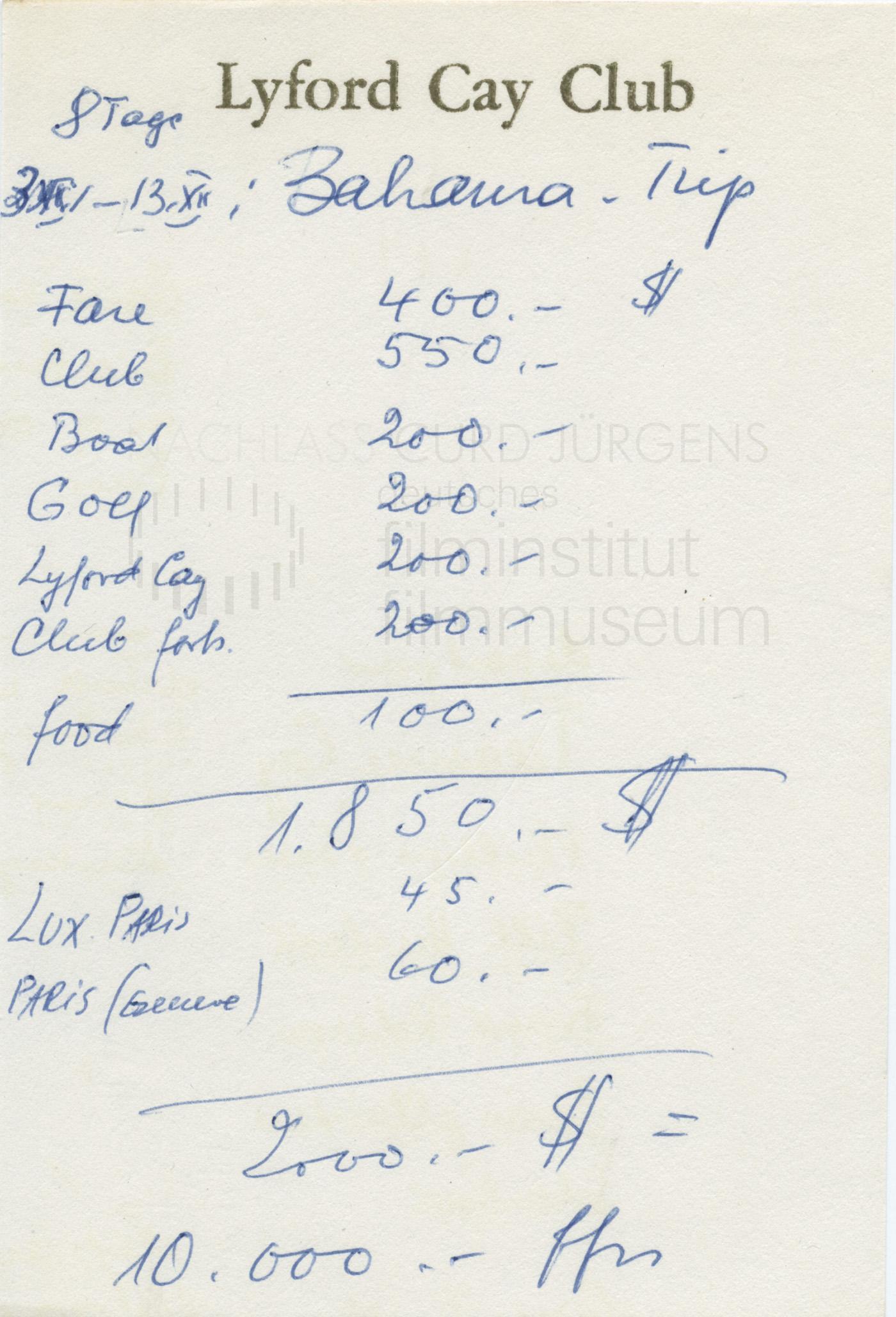 Terminkalender 1970: Kalkulation Bahamas-Trip