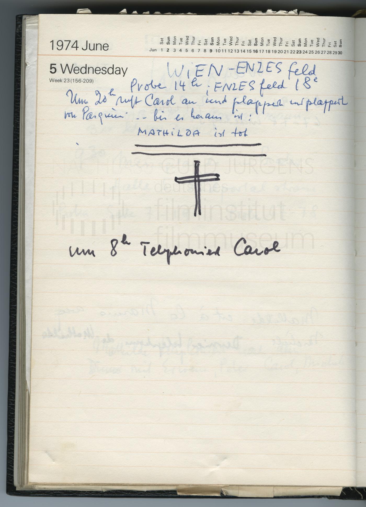 Terminkalender 5.6.1974: Nachricht vom Unfalltod Mathilda Mizarts