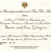 Einladung zum Abendessen mit dem Bundespräsidenten, 14.7.1978