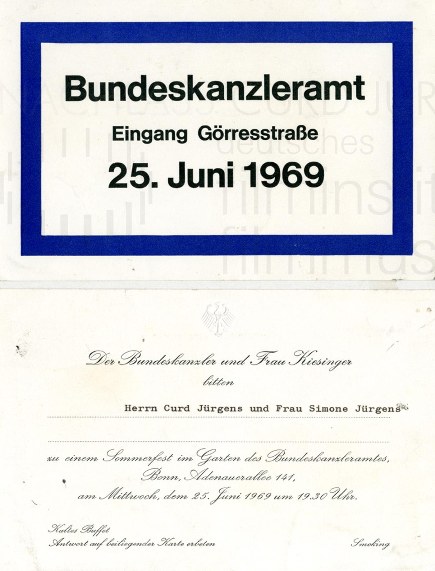 Einladung zum Sommerfest des Bundeskanzlers, 25.6.1969