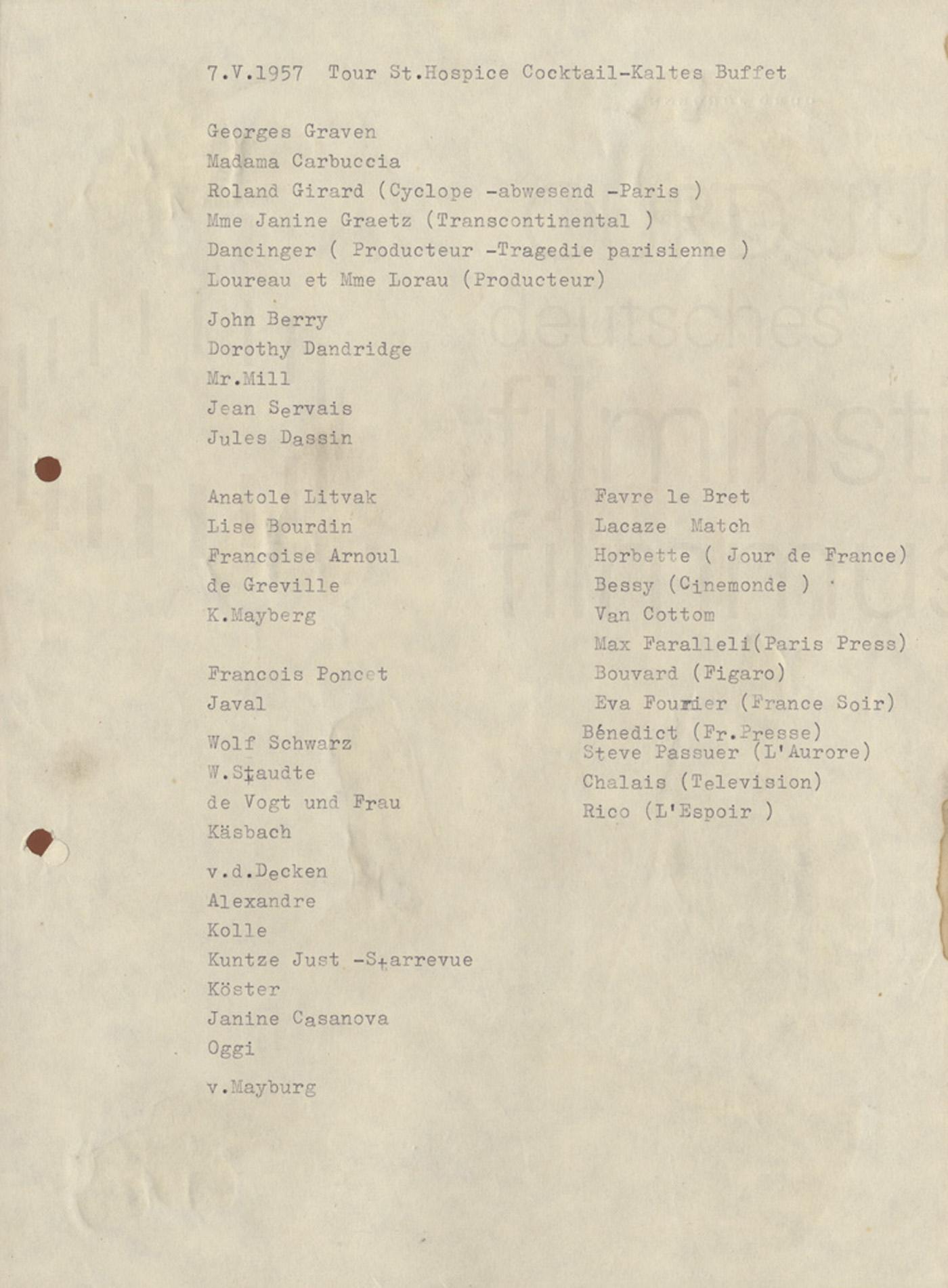 Gästeliste einer Dinnerparty am 7.5.1957 in Cap Ferrat