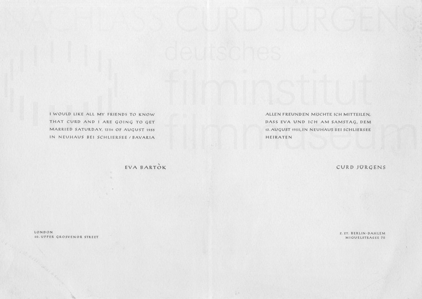 Heiratsanzeige Curd Jürgens und Eva Bartok, 1955
