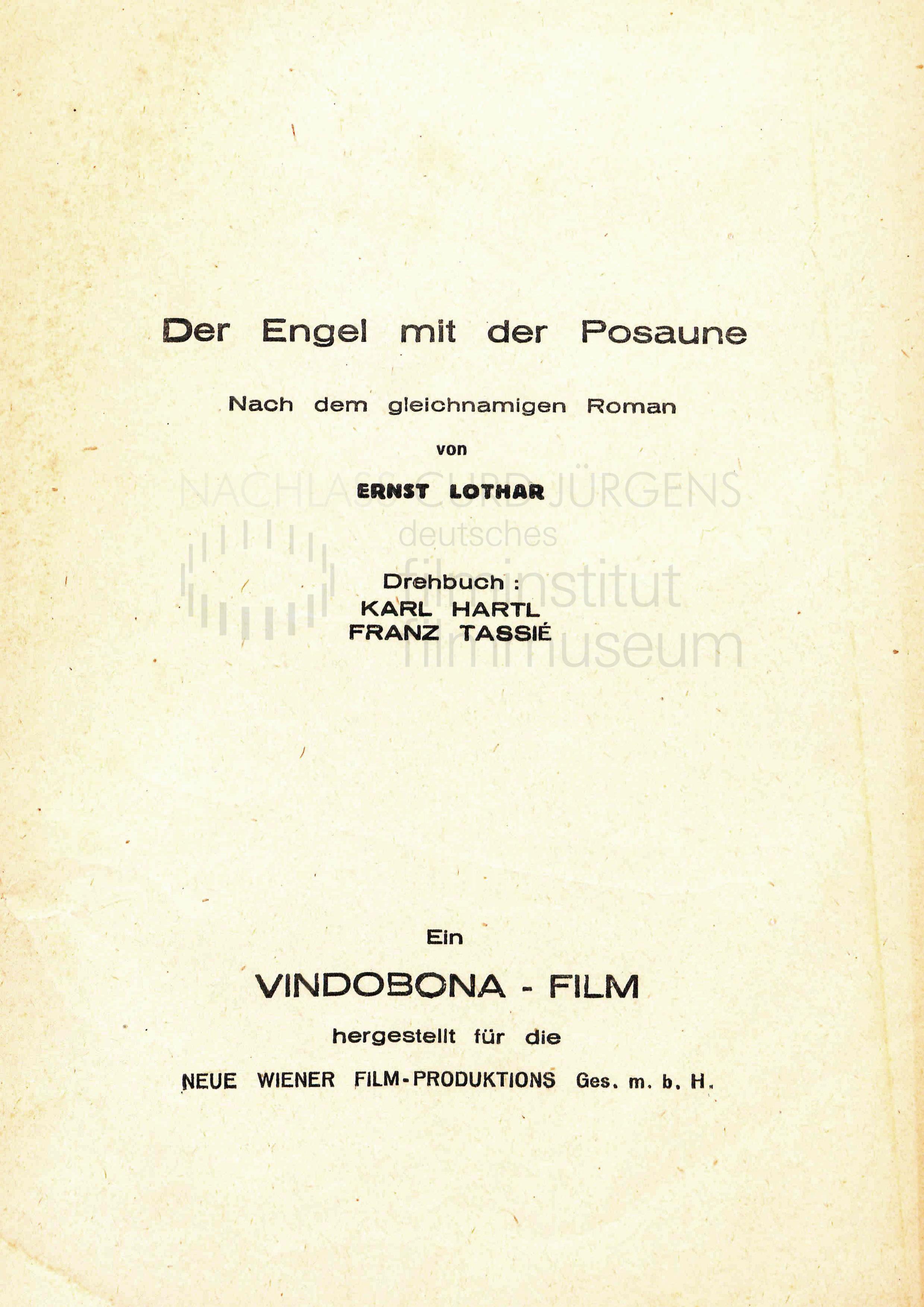 DER ENGEL MIT DER POSAUNE (1948) Drehbuch (Auszug)