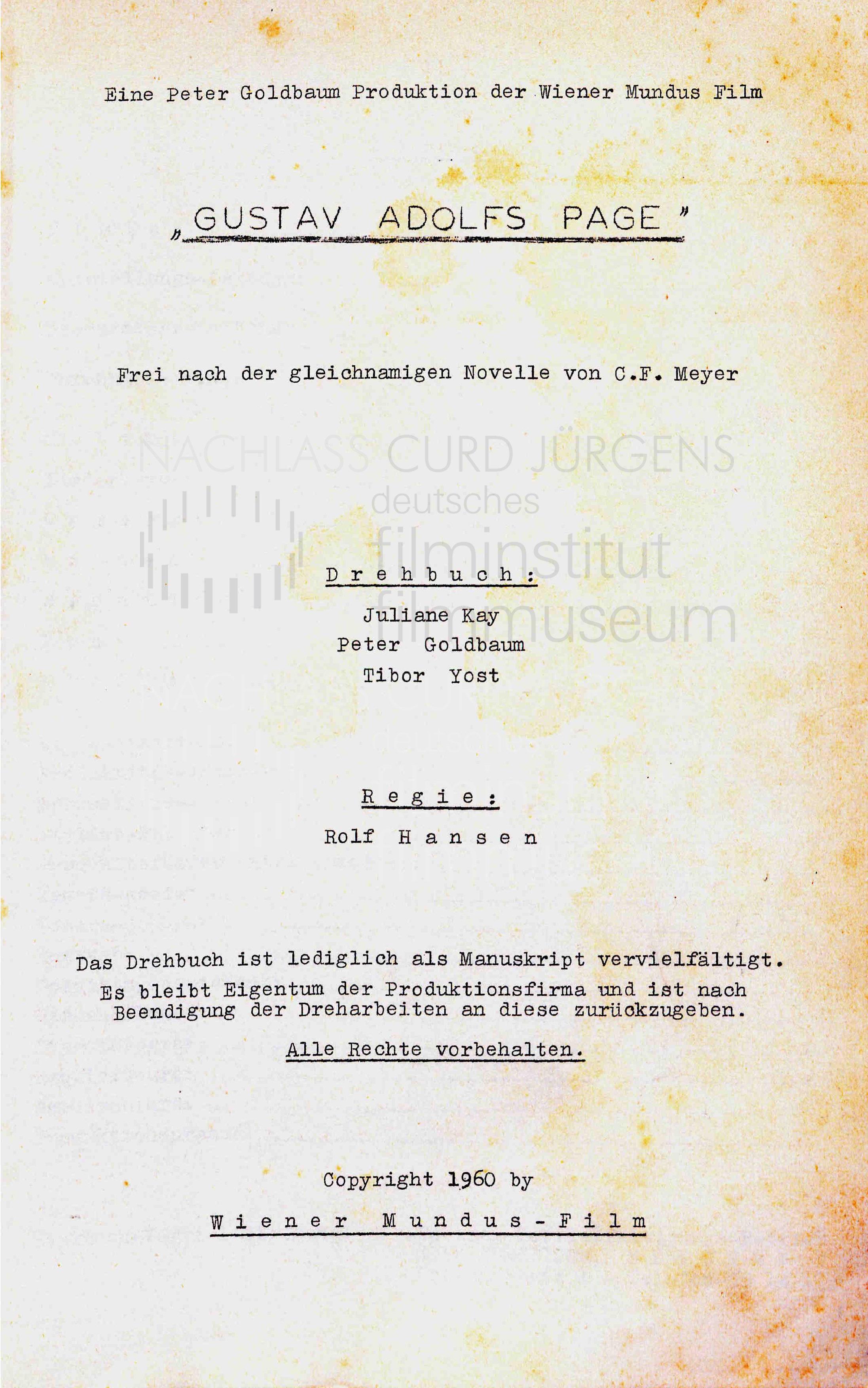 GUSTAV ADOLFS PAGE (1960) Drehbuch (Auszug) 1