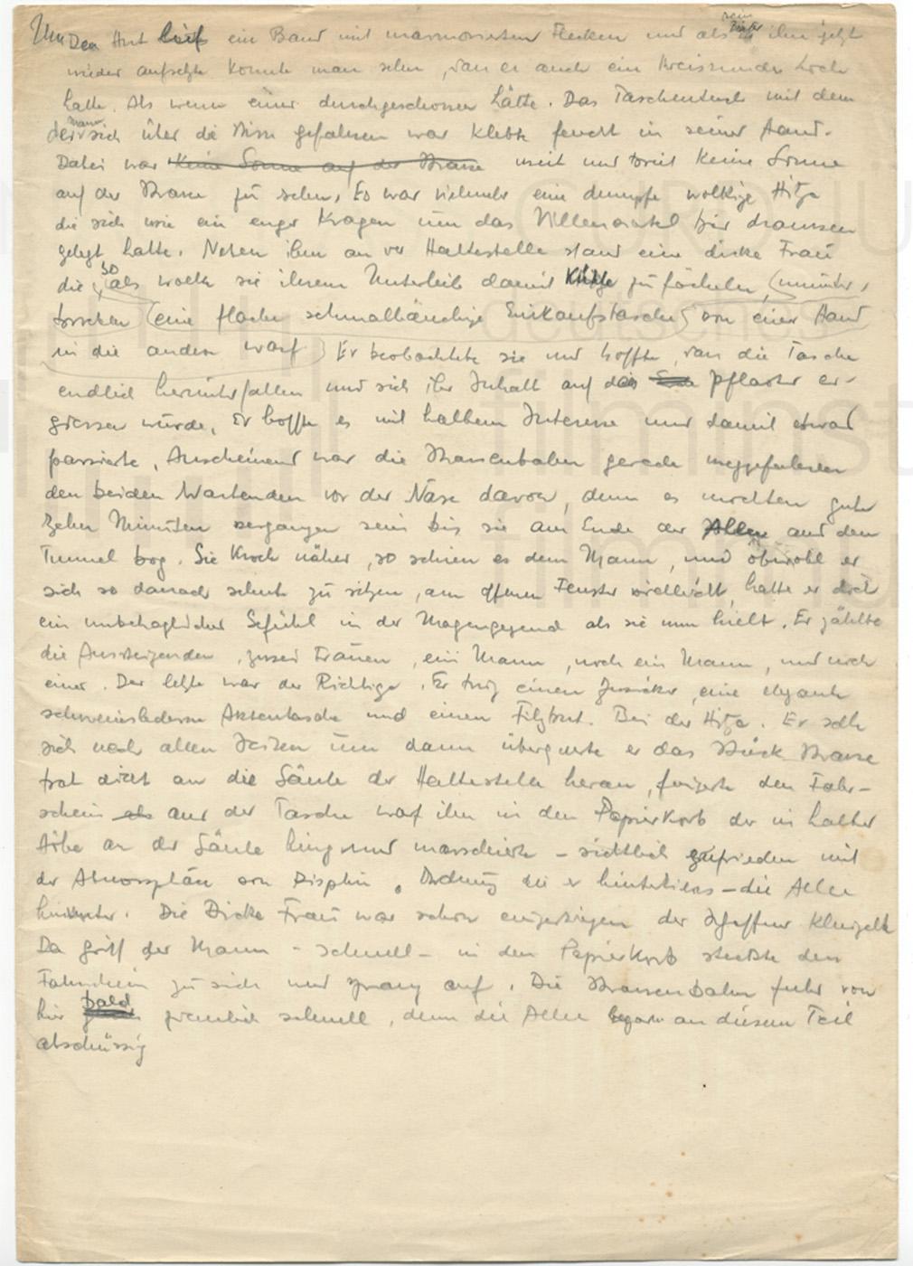 Fragmente zu einer Novelle, ca. 1940er Jahre